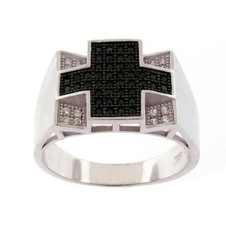 Sterling Silver Men's Cubic Zirconia Black and White Ring