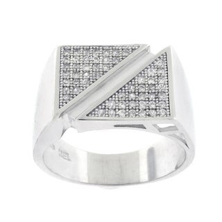 Sterling Silver Men's Cubic Zirconia Double Triangle Ring