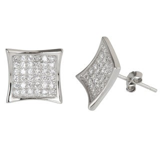 Decadence Sterling Silver Micropave Cubic Zirconia Concave Square Stud Earrings