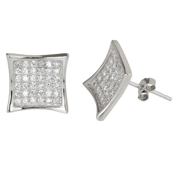 a11a3c210b4 Decadence Sterling Silver Micropave Cubic Zirconia Concave Square Stud  Earrings