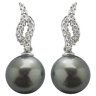 Pearls For You 14k White Gold Tahitian Pearl and Diamond Earring (9-10 mm) (I-J, SI2)