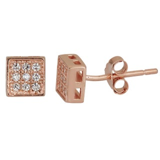 Decadence Sterling Silver 9 Cubic Zirconia Micropave Square Stud Earrings