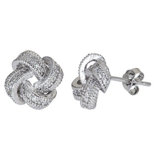 Decadence Sterling Silver Micropave Cubic Zirconia Love Knot Stud Earrings