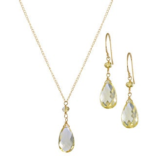 14k Whiskey Quartz 3-piece Jewelry