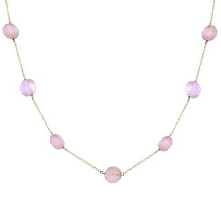 14k Yellow Gold Rose Quartz Necklace