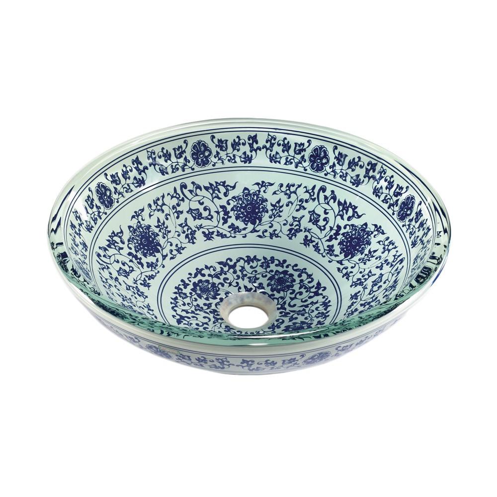 Legion Furniture Ceramic Sink Bowl (Floral Blue and White...