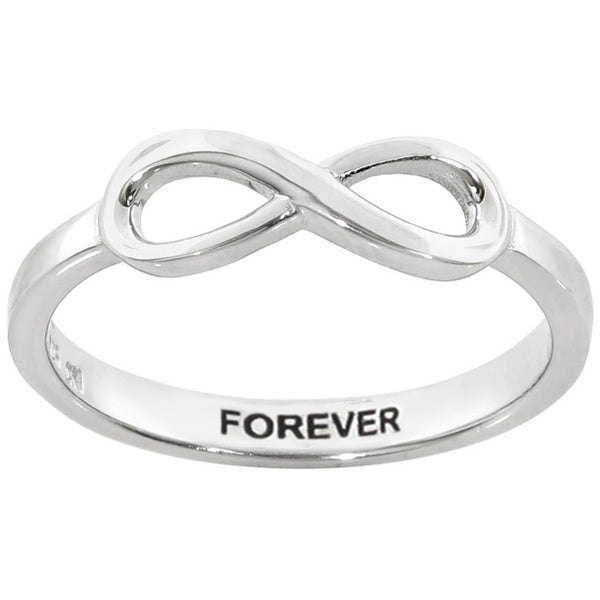 Eternally Haute Sterling Silver Forever Sentiment Infinity Ring
