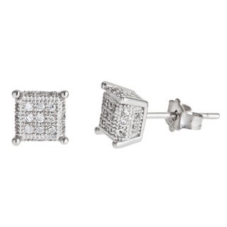 Decadence Sterling Silver 3 x 3 Micropave Stud Earrings with Cubic Zirconia