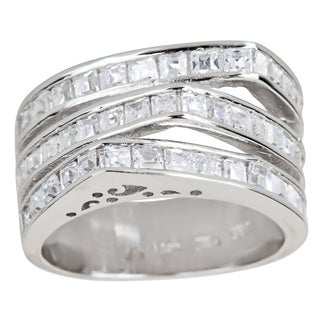 Decadence Sterling Silver Micropave Cubic Zirconia 3-row Princess Cut Ring