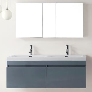 Virtu USA Zuri 55-inch Grey Double Sink Bathroom Vanity