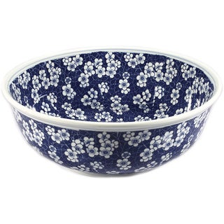 Legion Furniture Blue/ White Porcelain Floral Sink Bowl