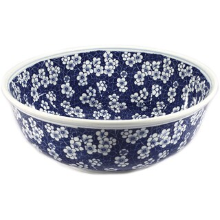 Legion Furniture Blue/ White Porcelain Floral Sink Bowl
