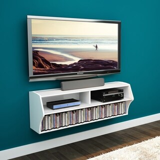 Prepac Winslow White Wood Wall-mounted A/V Entertainment Console