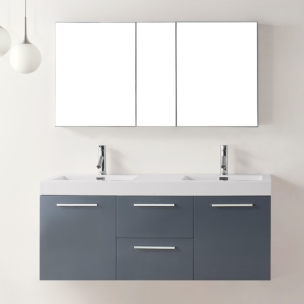 Virtu usa midori 54 inch double sink bathroom vanity - 52 inch bathroom vanity double sink ...