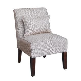 HomePop Chocolate/ Cream Greek Key Pattern Slipper Accent Chair