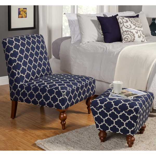 Shop HomePop Slipper Blue/ Cream Quatrefoil Accent Chair