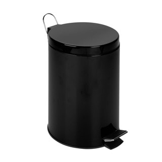 Honey-Can-Do 12-Liter Round Step Can, Black
