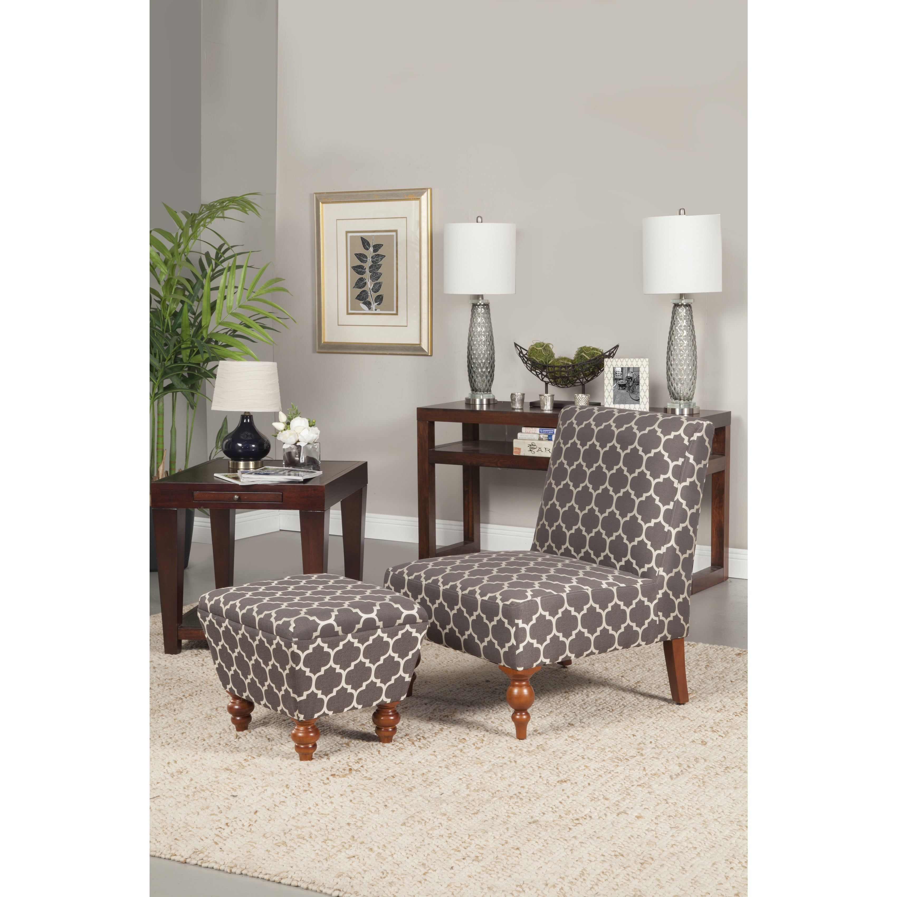Shop HomePop Slipper Grey And Cream Quatrefoil Accent Chair And Ottoman    Free Shipping Today   Overstock   9739779