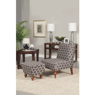 HomePop Slipper Grey and Cream Quatrefoil Accent Chair and Ottoman