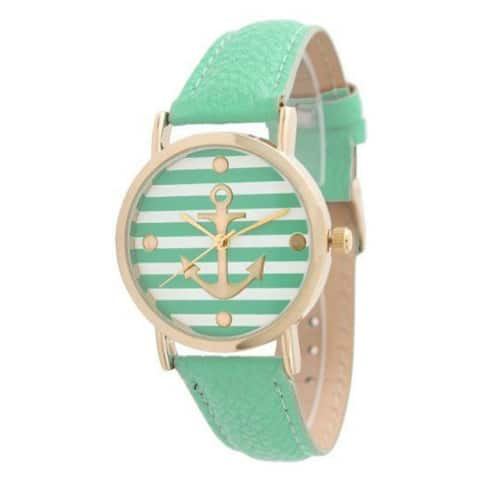 Olivia Pratt Women's Striped Anchor Emblem Leather Strap Watch