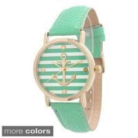 Olivia Pratt Women's Striped Anchor Emblem Leather Strap Watch