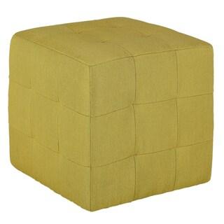 Cortesi Home Braque Citron Green Fabic Cube Ottoman