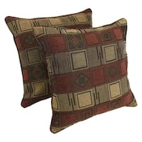 Blazing Needles 25-inch 'Manhattan' Jacquard Chenille Square Floor Pillows with Inserts (Set of 2)
