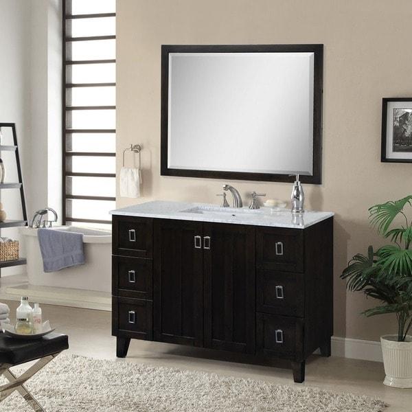 Comcarrera Marble Bathroom Vanity : 48-inch Carrara White Marble Top Bathroom Vanity - Free Shipping Today ...