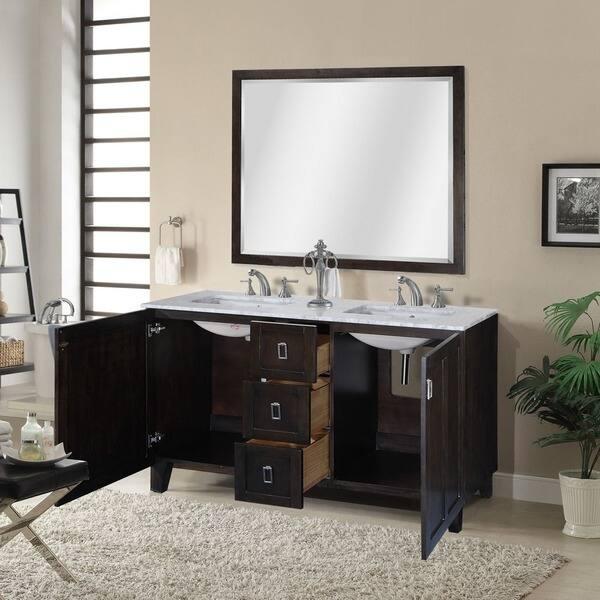 Dark Brown Finish Double Sink Bathroom