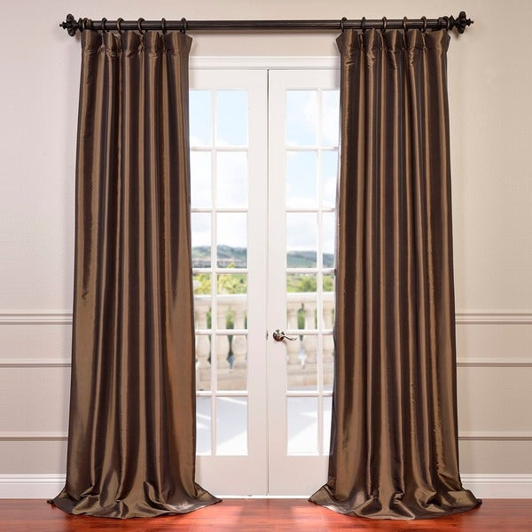 eff faux silk taffeta 120 inch blackout curtain panel free shipping today. Black Bedroom Furniture Sets. Home Design Ideas