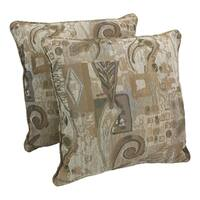Blazing Needles 25-inch 'Wind Song' Jacquard Chenille Square Floor Pillows with Inserts (Set of 2)