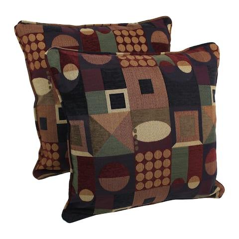 Blazing Needles 25-inch Kaleidoscope Chenille Square Throw Pillows (Set of 2)