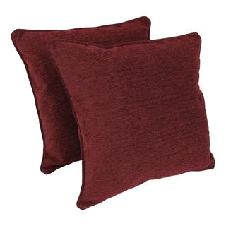 Blazing Needles 25-inch 'Bordeaux' Jacquard Chenille Square Floor Pillows with Inserts (Set of 2)