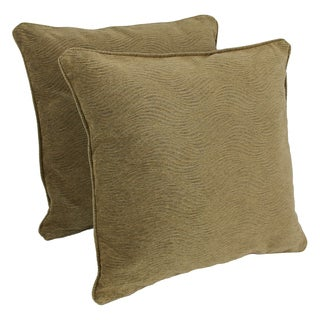 Blazing Needles 25-inch 'Champagne' Jacquard Chenille Square Floor Pillows with Inserts (Set of 2)