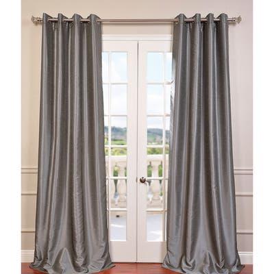 Exclusive Fabrics Textured Dupioni Faux Silk 84-inch Grommet Blackout Grommet Curtain (1 Panel) - 50 x 84
