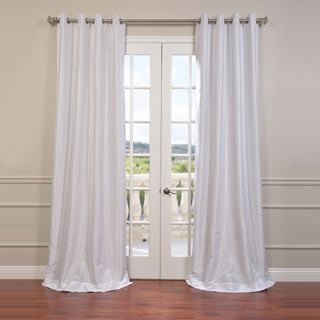 Exclusive Fabrics Textured Dupioni Faux Silk Grommet 84-inch Blackout Grommet Curtain Panel
