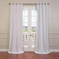 Exclusive Fabrics Textured Dupioni Faux Silk Grommet 84-inch Blackout Grommet Curtain Panel - 50 x 84
