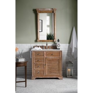 James Martin Furniture Savannah 36-inch Driftwood Single Vanity with Marble Top