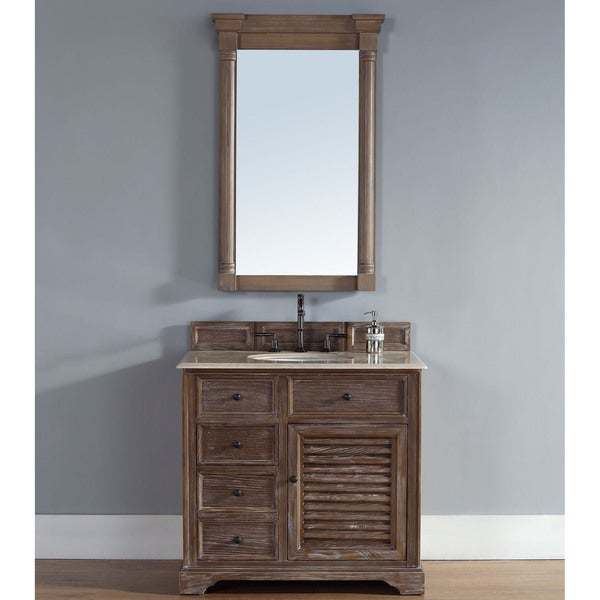 James Martin Furniture Savannah 36 Inch Driftwood Single Vanity With Marble  Top