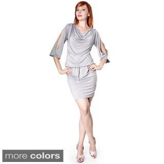 Evanese Women's Shiny Venezian Cowlneck Slit-Sleeve Dress
