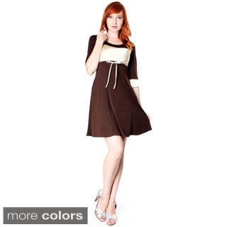 Evanese Women's Short Colorblock 3/4 Sleeve Dress (Option: Brown)