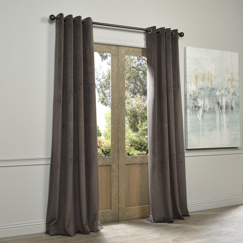 Eff Signature Velvet Grommet 108 Inch Blackout Curtain Panel 50 X
