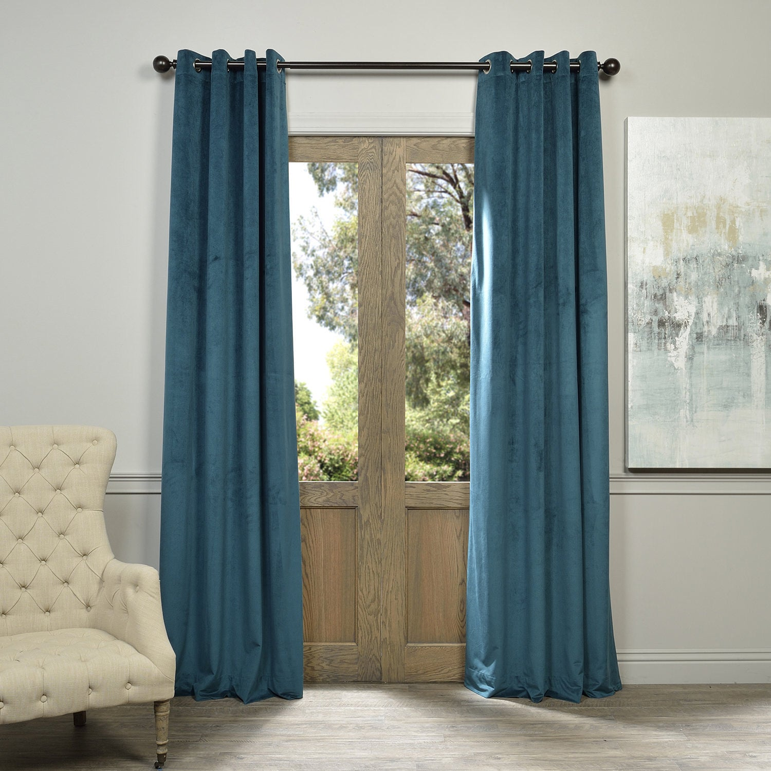 Exclusive Fabrics Signature Velvet Grommet 96 Inch Blackout Curtain Panel Ebay