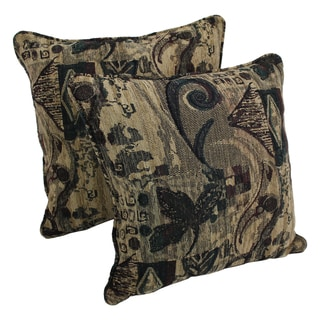 Blazing Needles 25-inch 'Antiquity' Jacquard Chenille Square Throw Pillows with Inserts (Set of 2)