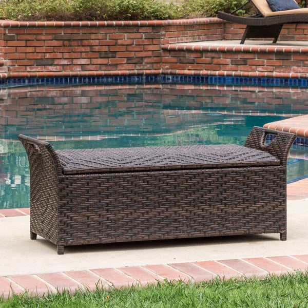 Wing Outdoor Wicker Storage Bench By Christopher Knight Home   Free  Shipping Today   Overstock.com   16914651