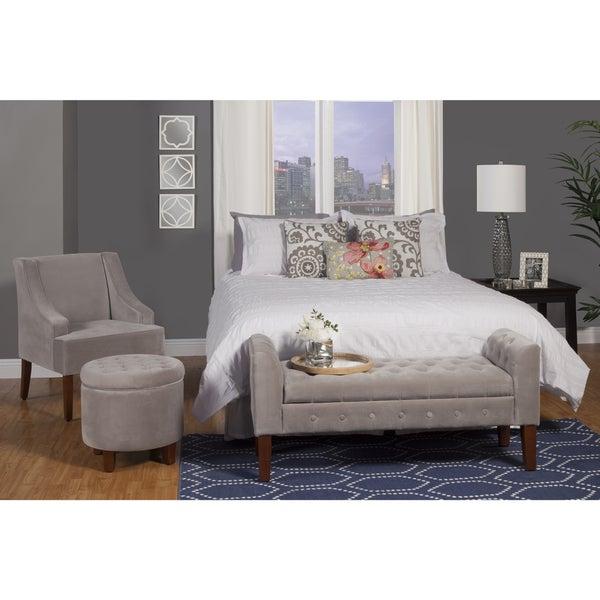 HomePop Dove Grey Velvet Swoop Arm Accent Chair