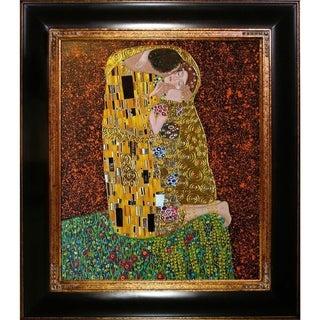 Gustav Klimt 'The Kiss' Hand-painted Framed Canvas Art