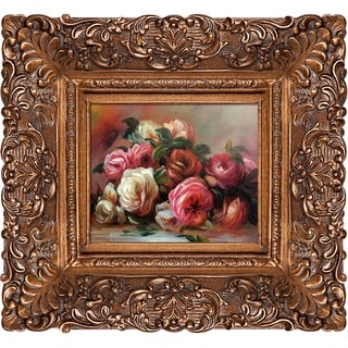 Pierre-Auguste Renoir 'Discarded Roses' Hand-painted Framed Canvas Art