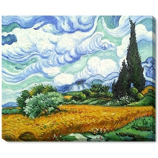 Vincent Van Gogh 'Wheat Field with Cypresses' Hand-painted Gallery-wrapped Canvas Art