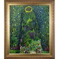 Gustav Klimt 'Sunflower' Hand-painted Framed Canvas Art
